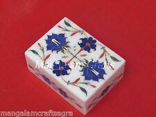 Marble Jewelry Box  Craft Work Pietra Dura Stone Handmade Home Decor
