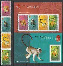 Hong Kong 2004 Year of the Monkey set of 4 + 2 M/S MNH