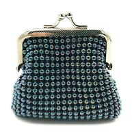 "Women's Kiss Lock Metal Beaded Mesh Coin Purse ""New"" USA Stock"