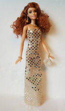 Fits TALL Body BARBIE Clothes Gold Gown, Purse & Jewelry Fashion NO DOLL d4e