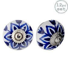 Ceramic Door Knobs Cabinet Drawer Handle Set, Floral Design, Dark Blue - x12