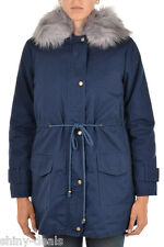 DON'T BELIEVE THE HYPE New Woman Blue Faux Fur OLIVA Hooded Parka Jacket Size M