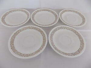 "5 CORELLE WOODLAND BROWN SAUCERS PLATES 6 1/4"" DIAMETER"
