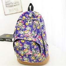 Womens Casual Canvas Floral Travel Shoulder Backpack Rucksack School Bag Satchel