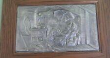 Bild Zinnbild  Der arme Poet  Zinn Holzrahmen Wandbild Carl Spitzweg 41 x 30 cm