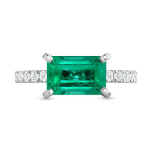 2.47 CT Colombian Emerald & 0.65 CT Diamonds in 14K White Gold Engagement Ring