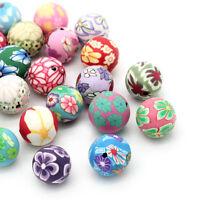 30 Mix Rund Blumen Millefiori Spacer Perlen Beads für Halskette Armband