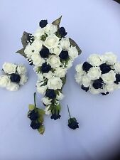 Wedding Flowers Bridal Bouquet Flower Package (BUNDLE )  Ivory  & Navy £99.00