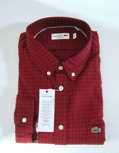 Men's Lacoste Button Down Check Shirt Red Long Sleeve XL 2XL Cotton New W/Tag