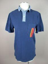 NWT Merona T127 Size S Men's Blue 100% Cotton V neck Short Sleeve Polo Shirt