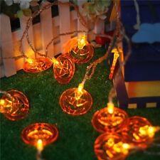 10 Arancione Zucca A BATTERIA SPOOKY Halloween Decorazione Lucine