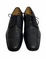 Johnston & Murphy Men 8.5 Oxfords Black Leather Cap Toe Dress Shoe Flex System