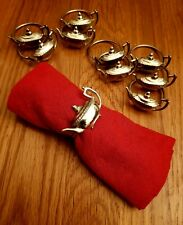 Vintage x10 Silver Plated Brass Teapot Napkin Rings