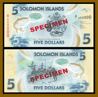 Solomon Islands 5 Dollars, 2018 P-New Specimen  40 Years Polymer Unc