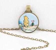 Vintage Bear Cabochon Tibetan Bronze Glass Chain Pendant Necklace Jewelry new
