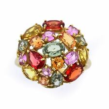 Fiery Yellow Gold 2.00tw Multi-Color Gemstone Dome Estate Ring