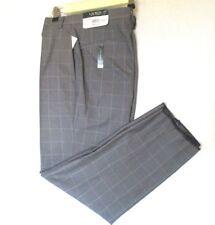LAUREN RALPH LAUREN Men's Classic Fit Gray Windowpane Flat Front 36X29.5Unhemmed