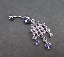 Tanzanite Belly Ring Chain Gem Drops Double Jewel Dangle Navel Body Jewelry