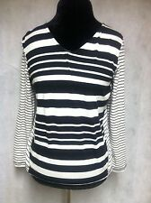 Onque Casual Women's Black&White Long Sleeve V-Neck Stripe Shirt Sz Petite Large