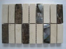 15 x 10 cms Sheet polished stone Mosaic Tiles - Browns and Cream w/ shell insets