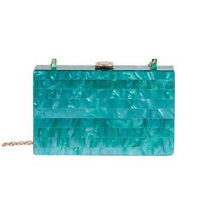 Australian Designed Aqua Jade Acrylic Clutch Purse w/ Gold Chain Strap NIB
