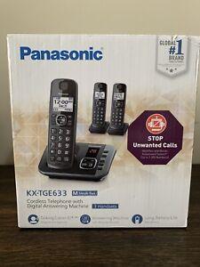 Panasonic KX-TGE633M Cordless Phone w/Digital Answering Metallic Black OPEN NEW