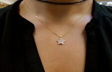 STAR NECKLACE WITH DIAMONDS 14K YELLOW GOLD 0.20CT SI 1 CLARITY G COLOR