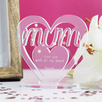 Personalised Heart with Message Ornament Keepsake Birthday Mum Mothers Day Gift
