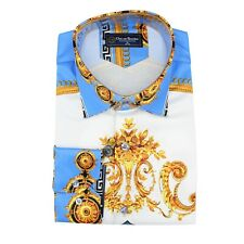 OSCAR BANKS SATIN BAROQUE PATTERNS PRINT MEN'S SHIRTS SL 6945 - ROYAL BLUE