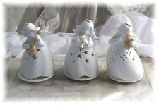 3 Porcelain Angel Tealight Candle Holders Harp Horn Lute White Porcelain New Box