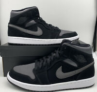 Nike Air Jordan 1 Mid Retro SE Shoes Black Anthracite Gray 852542-012 Men Size