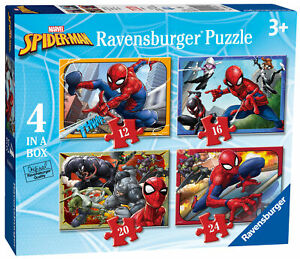 06915 Ravensburger Spider-Man 4-in-Box Jigsaw 12 16 20 24pc Puzzles Age 3+