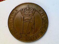 ***VINTAGE WORLD COIN***1928 NORWAY 5 ORE BRONZE XF/EF#AK36
