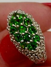 925 Sterling Silver Russian Chrome Diopside and sapphire Dome Ring Size 6