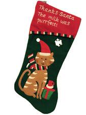 Pet Cat Green lightweight Felt Material Christmas Stocking