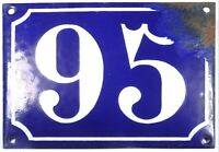 Large old blue French house number 95 door gate plate plaque enamel metal sign