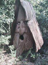 Wood Spirit Man rustic Hand Carved Cedar Bird House Birdhouse With Hair