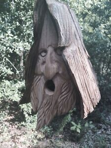 Wood Spirit Man rustic Hand Carved Cedar Bird House Birdhouse With Hair
