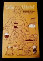 "vintage EDWARDS, NOB HILL, AIRWAY COFFEE ""Coffee Unlimited"" Foldout brochure"