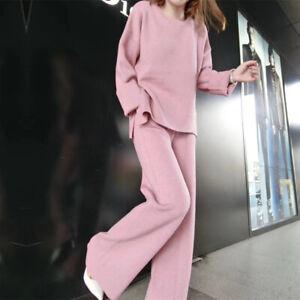 Fashion Womens Cashmere Warm Pullover Sweater Wide-leg Pants Slim Knit 2Pcs Sets