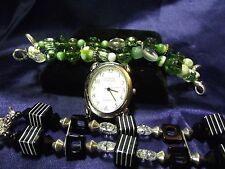 Woman's Geneva Watch with 2 Beaded Bands **Black & Green**Vintage** B77-B075
