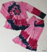 NWT 4T 4 yr Boutique ATTITUDE PIE Pink Denim Rose Ruffle Dress & Bell Pant SET