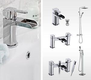 Soft Square Waterfall Bathroom Taps -Basin Tap, Bath Filler & Bath Shower Mixer