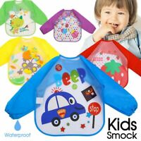Waterproof Feeding Art Apron Bib Smock Boys Girls Baby Toddler Kid short / long