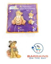 Cherished Teddies Halloween Bear Pumpkins - 2 Lapel Pins & Earrings Set NEW NIP