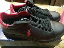 POLO Ralph Lauren Whickham Leather SNEAKERS  BLACK AND RED size 8