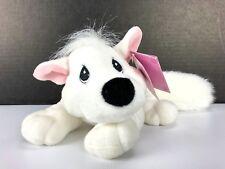 "11"" Vtg Enesco Tender Tails White Fox Dog Plush Stuffed Animal BIBLE STORIES Toy"