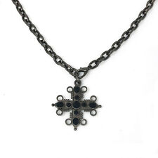 """Mixed Metal Black Gem Stone Cross Chunky Statement Necklace 36"""""""
