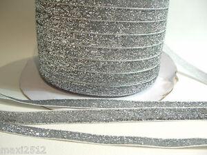 LGR10 Silver : 5m x 10mm Velvet Lame Glitter Ribbon
