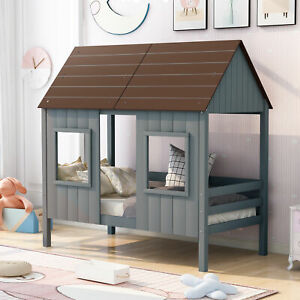 Loft Bed Twin Size Low Loft Wood House Bed with Two Front Windows Unique Bed